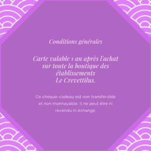Carte 60 € «Crevette Suprême»